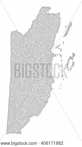 Polygonal Mesh Map Of Belize In High Detail Resolution. Mesh Lines, Triangles And Points Form Map Of