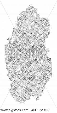 Polygonal Mesh Map Of Qatar In High Detail Resolution. Mesh Lines, Triangles And Points Form Map Of
