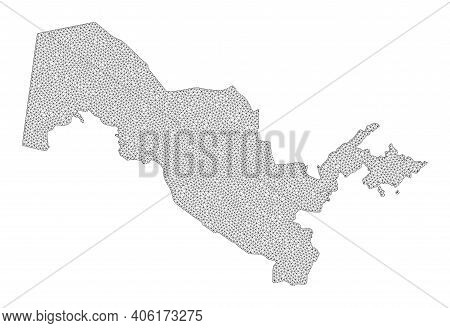 Polygonal Mesh Map Of Uzbekistan In High Resolution. Mesh Lines, Triangles And Dots Form Map Of Uzbe