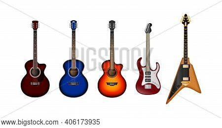 Musical Instruments Realistic Vector Set. Set Of Different Bright Realistic Guitars. Retro Acoustic