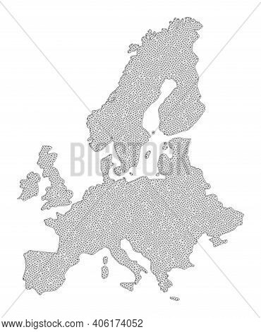 Polygonal Mesh Map Of Euro Union In High Resolution. Mesh Lines, Triangles And Dots Form Map Of Euro