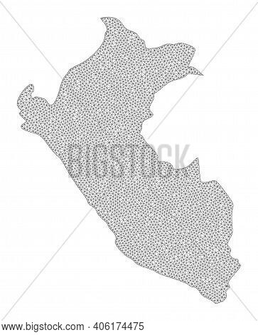 Polygonal Mesh Map Of Peru In High Resolution. Mesh Lines, Triangles And Dots Form Map Of Peru. High