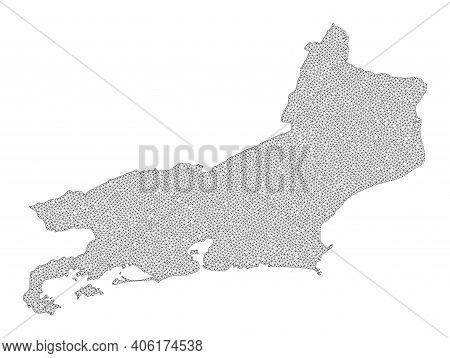 Polygonal Mesh Map Of Rio De Janeiro State In High Detail Resolution. Mesh Lines, Triangles And Poin