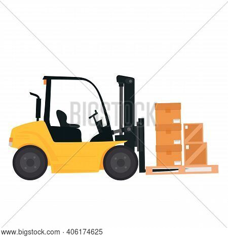 Forklift Isolated Vector Illustration. An Industrial Forklift Is Lifting Boxes. Loader With Boxes On
