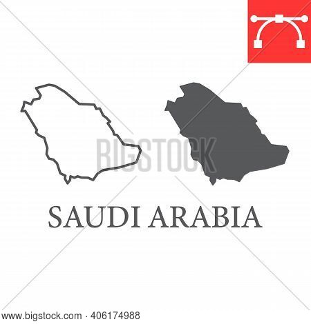 Map Of Saudi Arabia Line And Glyph Icon, Country And Geography, Saudi Arabia Map Sign Vector Graphic