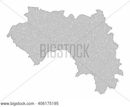Polygonal Mesh Map Of French Guinea In High Detail Resolution. Mesh Lines, Triangles And Points Form