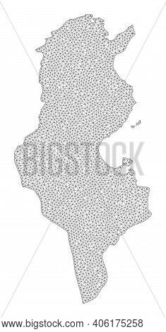 Polygonal Mesh Map Of Tunisia In High Detail Resolution. Mesh Lines, Triangles And Points Form Map O