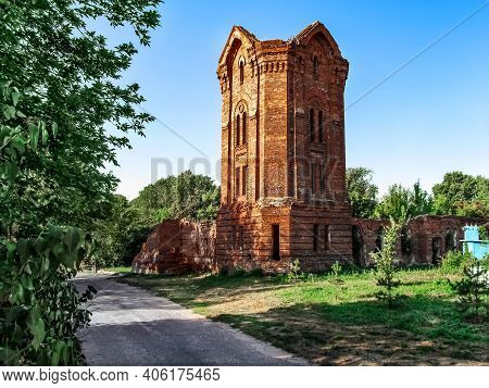 The Destroyed Tower Of The Former City Baths In Putivl (sumy Region, Ukraine). Ruins Of An Old Red B