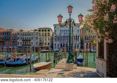 Canals Of Venice Italy During Summer In Europe, Architecture And Landmarks Of Venice. Italy Europe