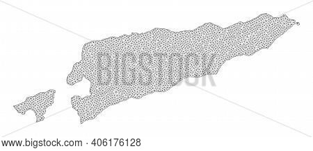 Polygonal Mesh Map Of East Timor In High Resolution. Mesh Lines, Triangles And Points Form Map Of Ea