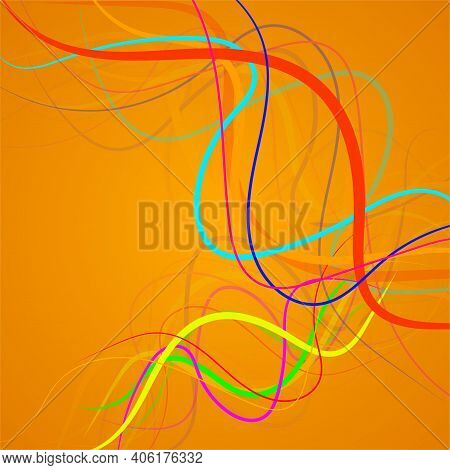 Abstract Colorfu Lines, Curved Stripes, Vector Background