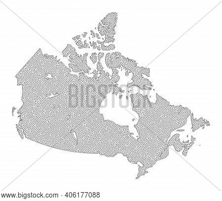 Polygonal Mesh Map Of Canada In High Detail Resolution. Mesh Lines, Triangles And Dots Form Map Of C