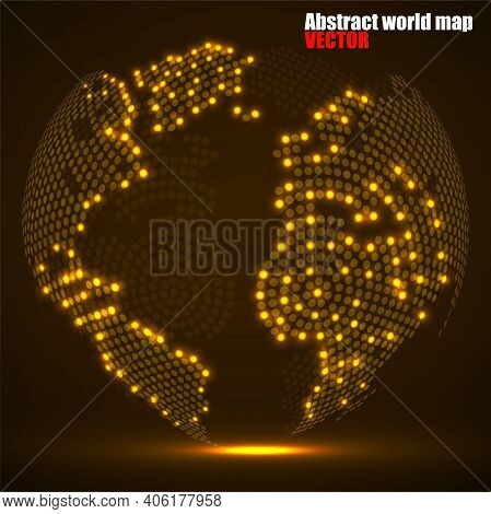 Abstract Globe Earth Of Glowing Radial Dots, Neon World Map