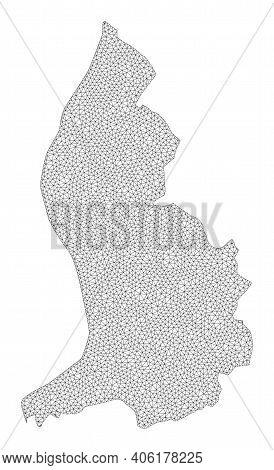 Polygonal Mesh Map Of Liechtenstein In High Detail Resolution. Mesh Lines, Triangles And Dots Form M