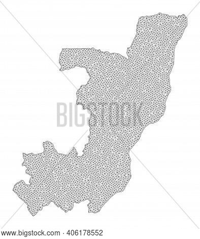 Polygonal Mesh Map Of Republic Of The Congo In High Detail Resolution. Mesh Lines, Triangles And Poi