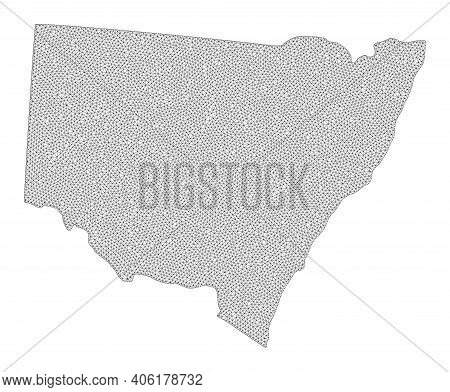 Polygonal Mesh Map Of New South Wales In High Detail Resolution. Mesh Lines, Triangles And Dots Form