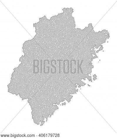 Polygonal Mesh Map Of Fujian Province In High Detail Resolution. Mesh Lines, Triangles And Dots Form