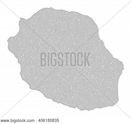 Polygonal Mesh Map Of Reunion Island In High Detail Resolution. Mesh Lines, Triangles And Dots Form