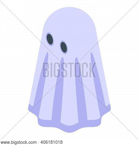 Horror Ghost Icon. Isometric Of Horror Ghost Vector Icon For Web Design Isolated On White Background