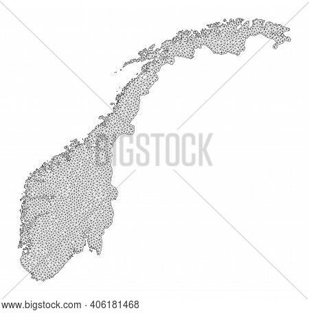 Polygonal Mesh Map Of Norway In High Resolution. Mesh Lines, Triangles And Points Form Map Of Norway