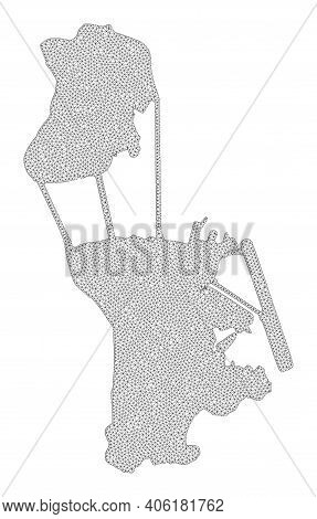 Polygonal Mesh Map Of Macau In High Resolution. Mesh Lines, Triangles And Dots Form Map Of Macau. Hi