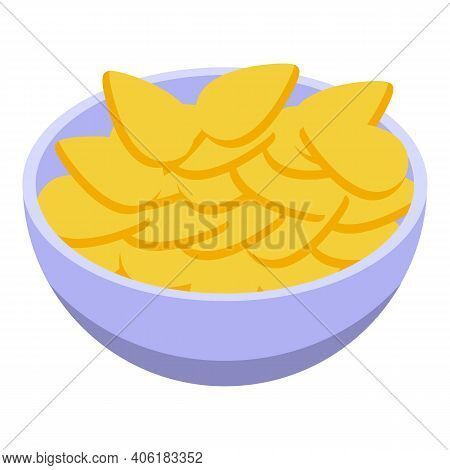 Snacks Bowl Icon. Isometric Of Snacks Bowl Vector Icon For Web Design Isolated On White Background
