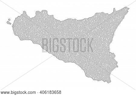 Polygonal Mesh Map Of Sicilia Island In High Detail Resolution. Mesh Lines, Triangles And Points For