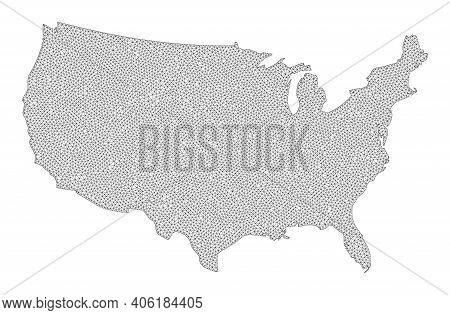 Polygonal Mesh Map Of Usa In High Detail Resolution. Mesh Lines, Triangles And Dots Form Map Of Usa.