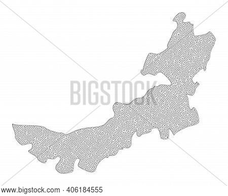 Polygonal Mesh Map Of Inner Mongolia In High Detail Resolution. Mesh Lines, Triangles And Dots Form
