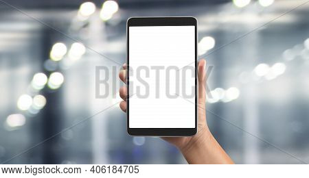 Hands Holding  Tablet Touch Computer Gadget With  Screen