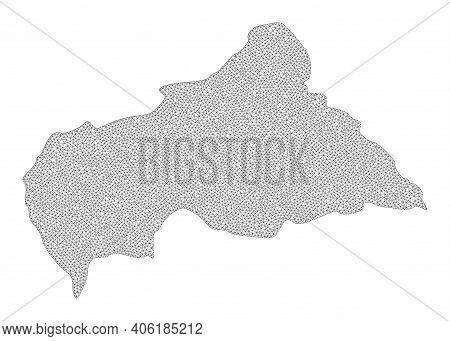 Polygonal Mesh Map Of Central African Republic In High Detail Resolution. Mesh Lines, Triangles And