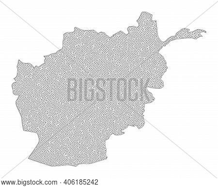 Polygonal Mesh Map Of Afghanistan In High Resolution. Mesh Lines, Triangles And Dots Form Map Of Afg