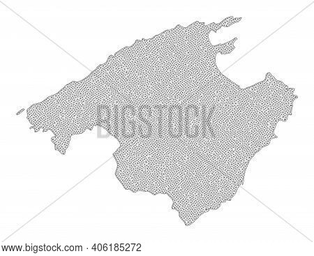 Polygonal Mesh Map Of Majorca In High Detail Resolution. Mesh Lines, Triangles And Dots Form Map Of