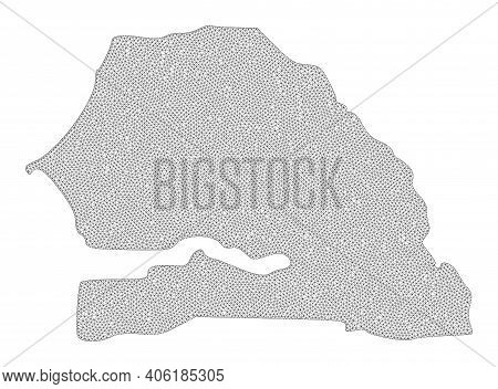 Polygonal Mesh Map Of Senegal In High Resolution. Mesh Lines, Triangles And Dots Form Map Of Senegal