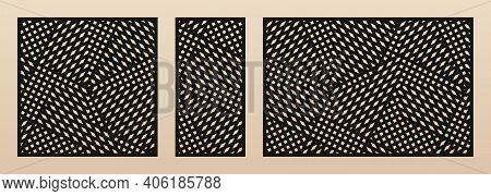Laser Cut Pattern Set. Vector Design With Modern Geometric Ornament, Abstract Grid, Mesh, Crossing L
