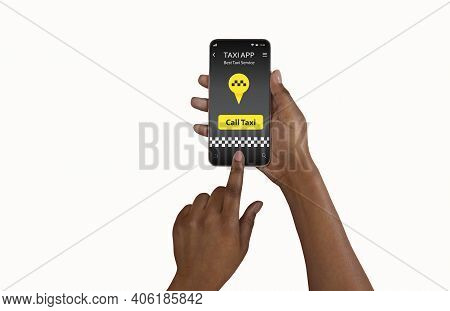 Mobile Taxi App. Closeup Of African American Woman Showing New Mobile Application For Cab Booking, I