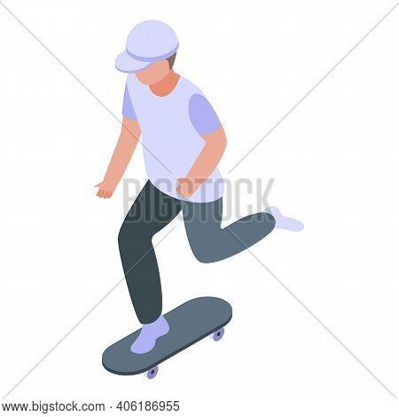 Boy Skateboarding Icon. Isometric Of Boy Skateboarding Vector Icon For Web Design Isolated On White