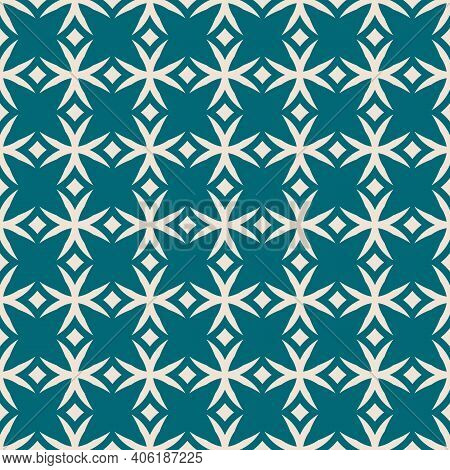Simple Vector Geometric Seamless Pattern. Teal And Beige Geometric Ornament Texture With Crosses, Di