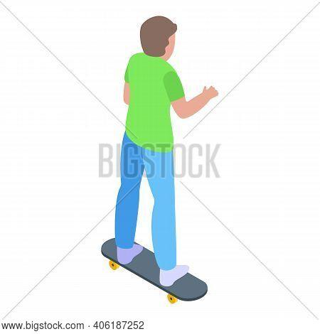 Teen Skateboarding Icon. Isometric Of Teen Skateboarding Vector Icon For Web Design Isolated On Whit