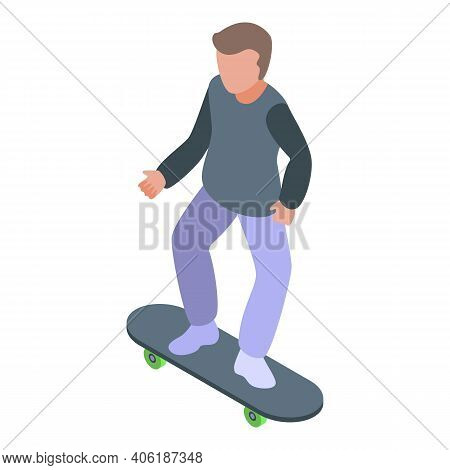 Street Skateboarding Boy Icon. Isometric Of Street Skateboarding Boy Vector Icon For Web Design Isol