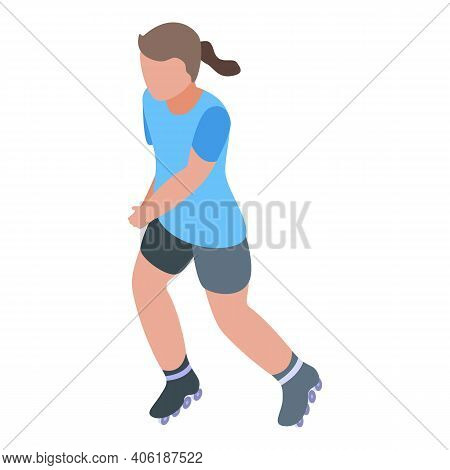 Girl Rollerblade Icon. Isometric Of Girl Rollerblade Vector Icon For Web Design Isolated On White Ba