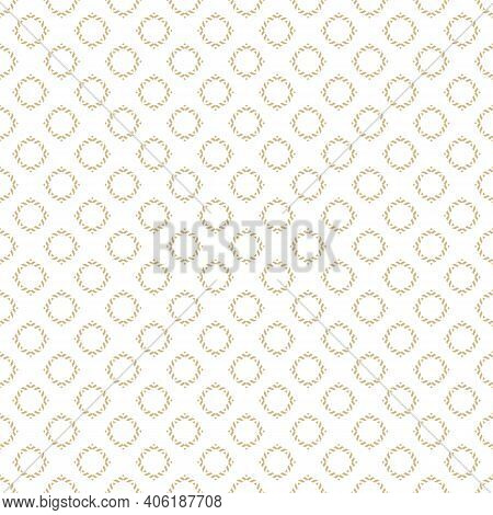 Vector Ornamental Seamless Pattern. Gold And White Geometric Ornament Texture With Small Flower Silh