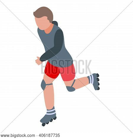 Inline Rollerblade Icon. Isometric Of Inline Rollerblade Vector Icon For Web Design Isolated On Whit