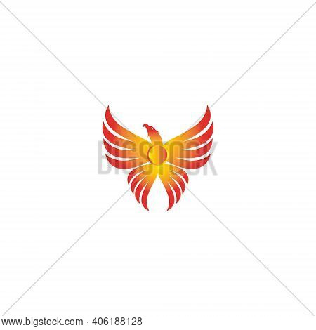Vector Illustration Of A Phoenix With Color Gradations For Icons, Symbols And Logos. Phoenix Logo Te