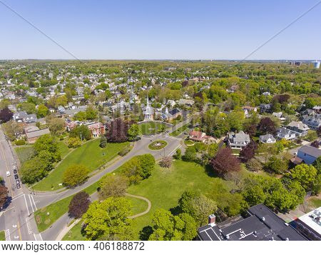 Swampscott Historic Town Center Aerial View Including Town Hall And First Church Swampscott Cong In