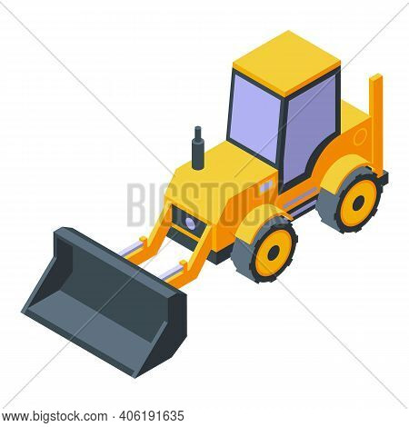 Excavator Tunnel Icon. Isometric Of Excavator Tunnel Vector Icon For Web Design Isolated On White Ba