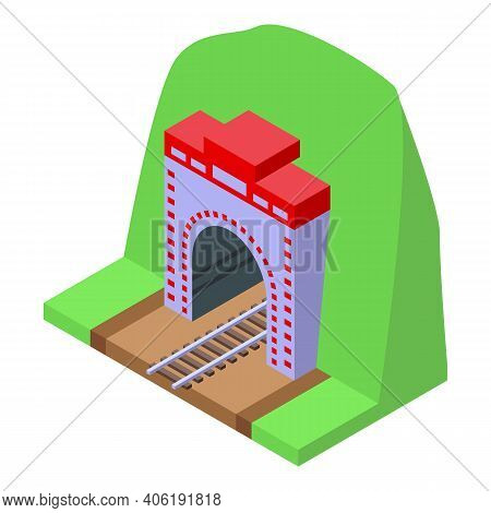 Railroad Tunnel Icon. Isometric Of Railroad Tunnel Vector Icon For Web Design Isolated On White Back