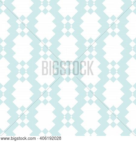 Vector Seamless Pattern With Diamond Grid, Net, Mesh, Lattice, Rhombuses. Subtle Light Blue And Whit