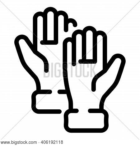 Rubber Gloves Icon. Outline Rubber Gloves Vector Icon For Web Design Isolated On White Background