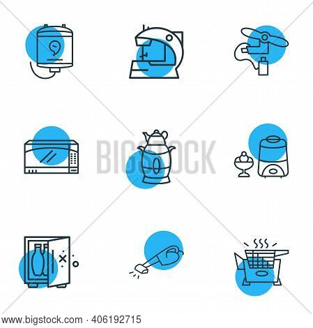 Vector Illustration Of 9 Kitchenware Icons Line Style. Editable Set Of Electric Samovar, Electric Se